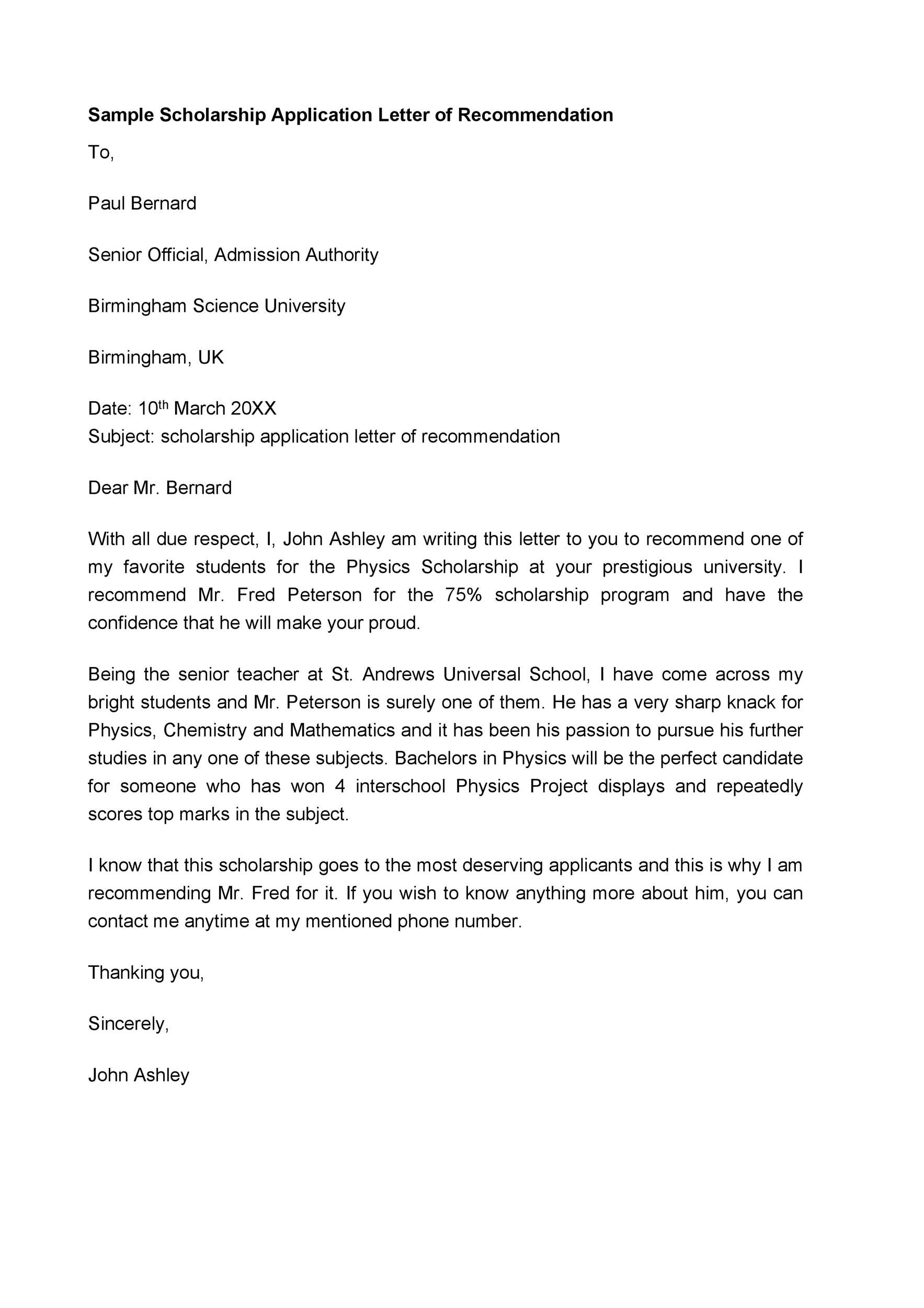 Sample Letter Of Recommendations For Scholarships from www.addictionary.org