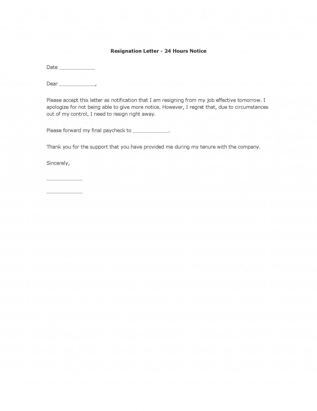 004 Unbelievable Template For Letter Of Resignation Picture  Free With Notice Period WordLarge