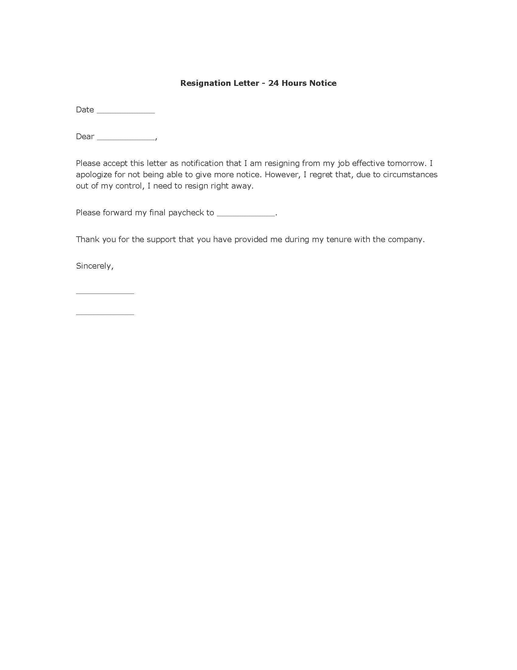 004 Unbelievable Template For Letter Of Resignation Picture  Free With Notice Period WordFull