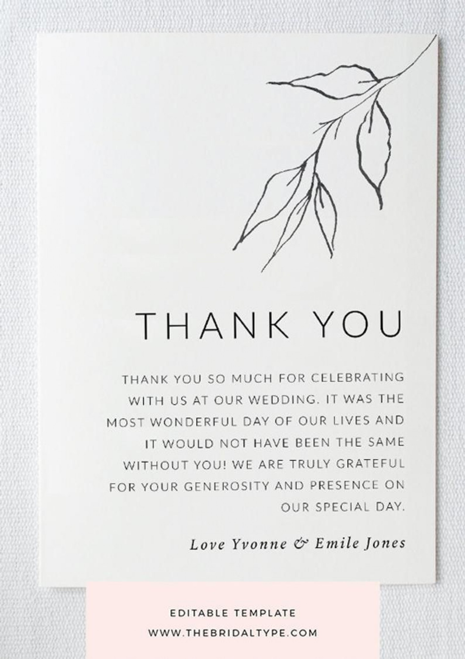 004 Unbelievable Wedding Thank You Card Template High Definition  Message Sample Free Download Wording For Money1920