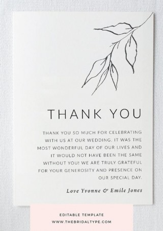 004 Unbelievable Wedding Thank You Card Template High Definition  Photoshop Word Etsy320