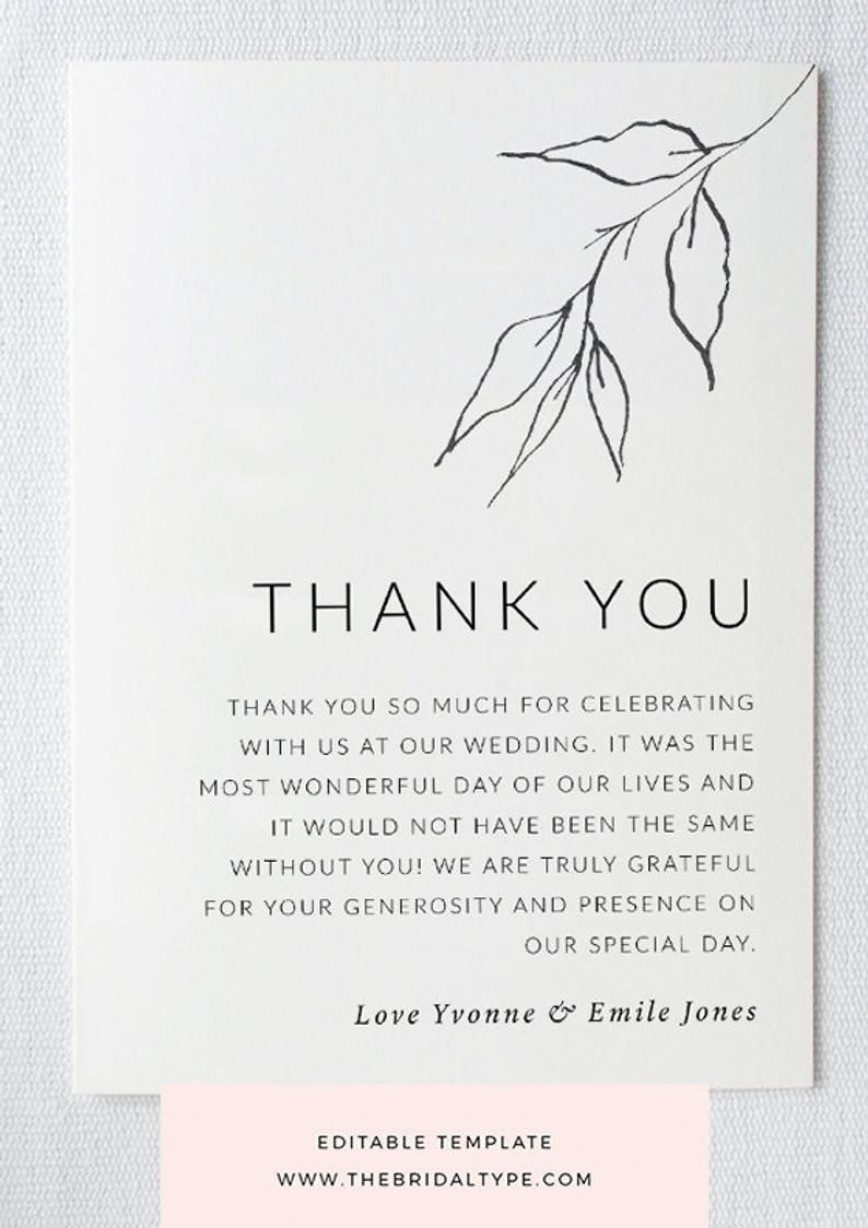 004 Unbelievable Wedding Thank You Card Template High Definition  Photoshop Word Etsy868