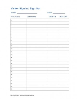 004 Unforgettable Busines Visitor Sign In Sheet Template Highest Quality 320