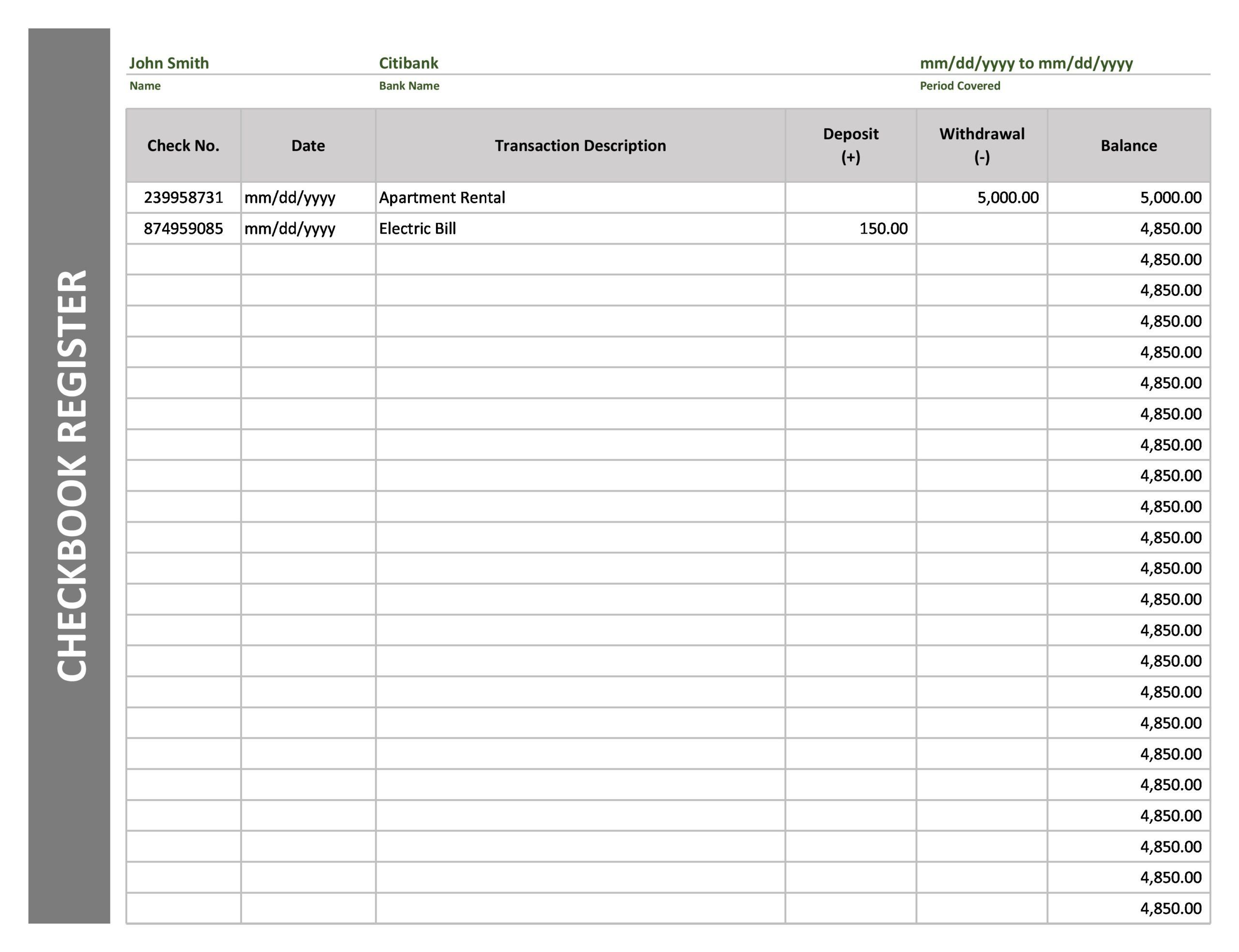 004 Unforgettable Check Register Template Printable Example  Pdf ExcelFull