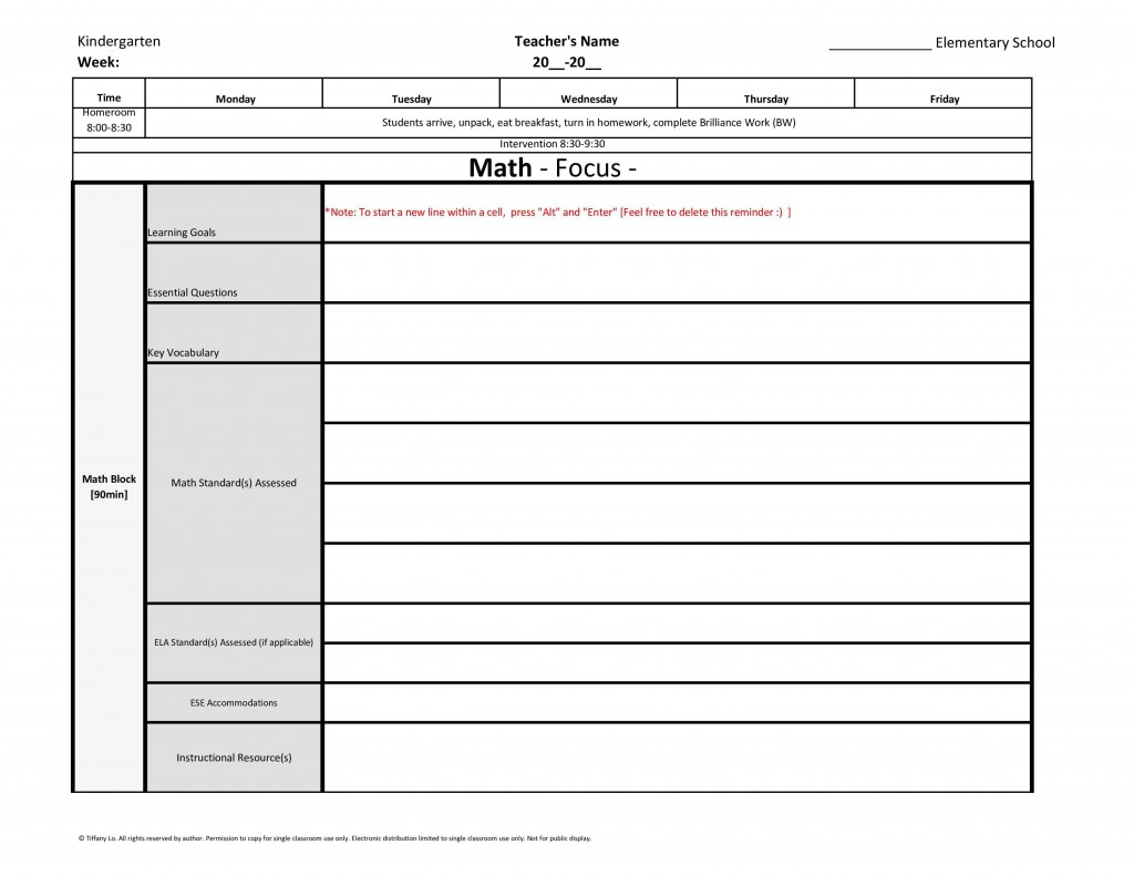 004 Unforgettable Editable Lesson Plan Template Elementary Image Large