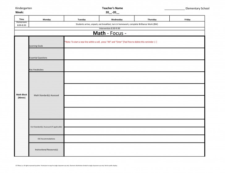 004 Unforgettable Editable Lesson Plan Template Elementary Image 728