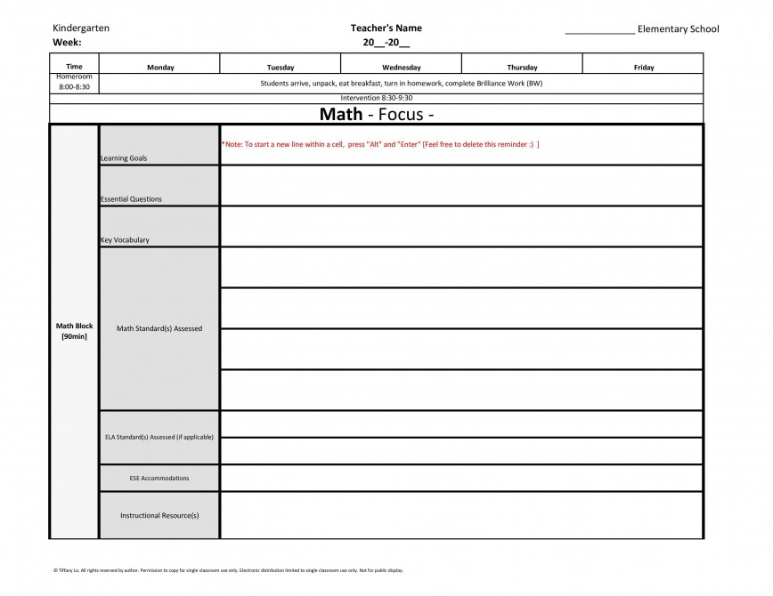 004 Unforgettable Editable Lesson Plan Template Elementary Image 868