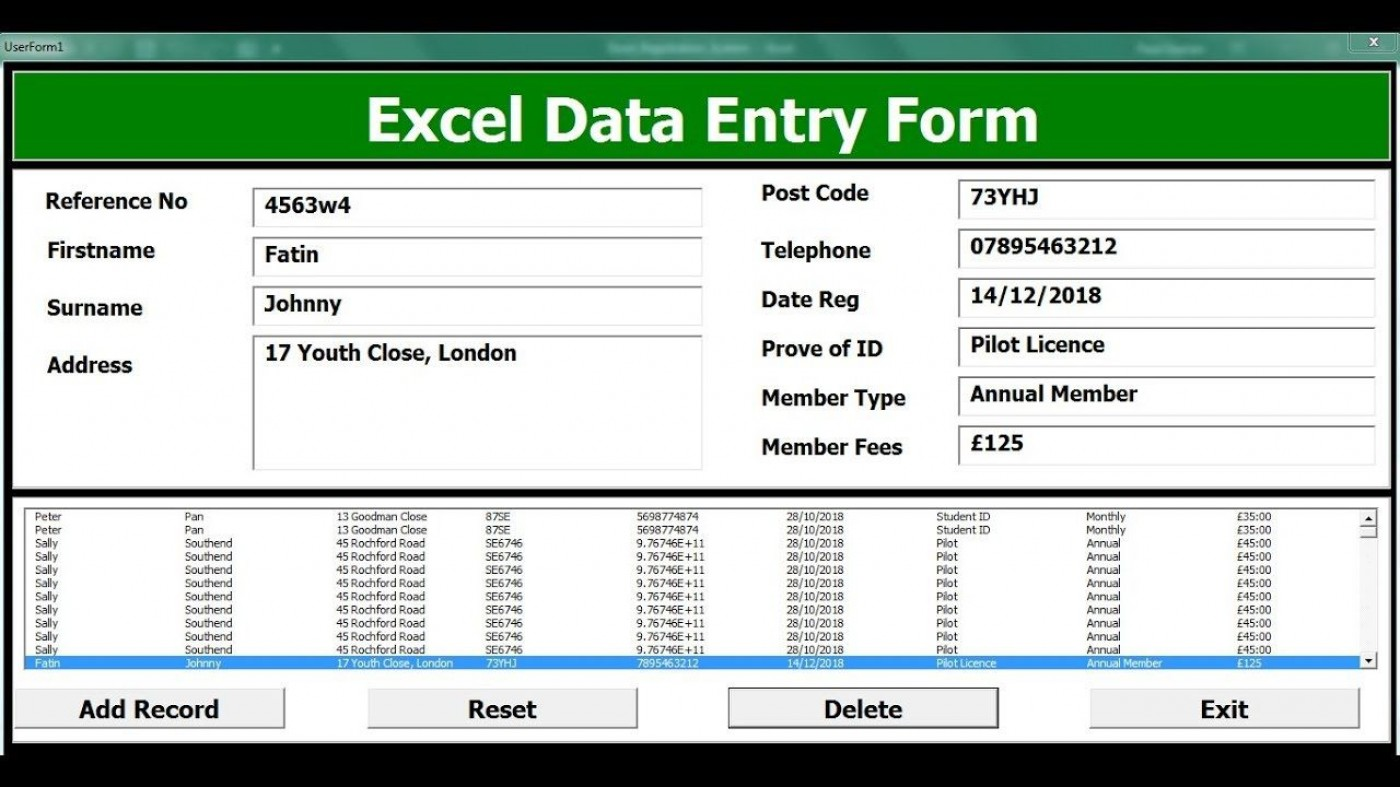 004 Unforgettable Excel Data Entry Form Template Sample  Free Download Example Pdf1400