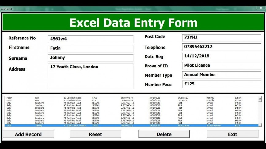 004 Unforgettable Excel Data Entry Form Template Sample  Free Download Example Pdf868