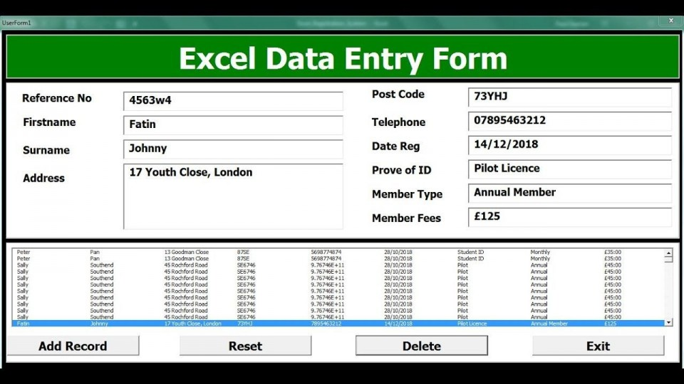 004 Unforgettable Excel Data Entry Form Template Sample  Free Download Example Pdf960