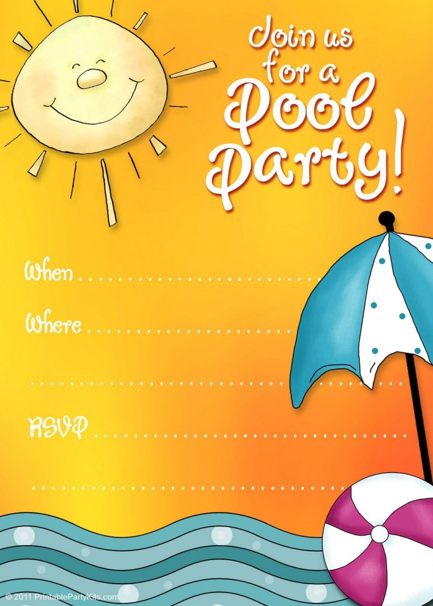 004 Unforgettable Free Pool Party Invitation Template Printable High Resolution  Card Summer
