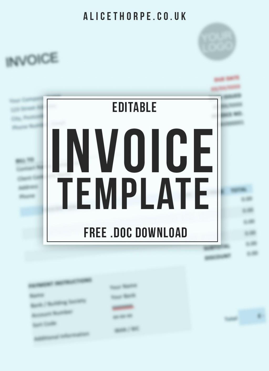 004 Unforgettable Invoice Template Uk Freelance Sample  Example WordLarge