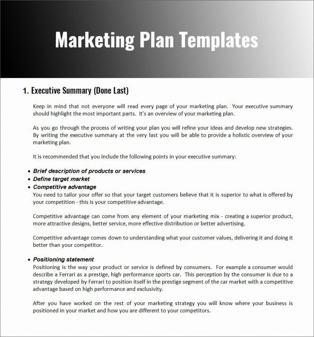 004 Unforgettable Marketing Plan Format For Small Busines Sample  Business Template FreeLarge