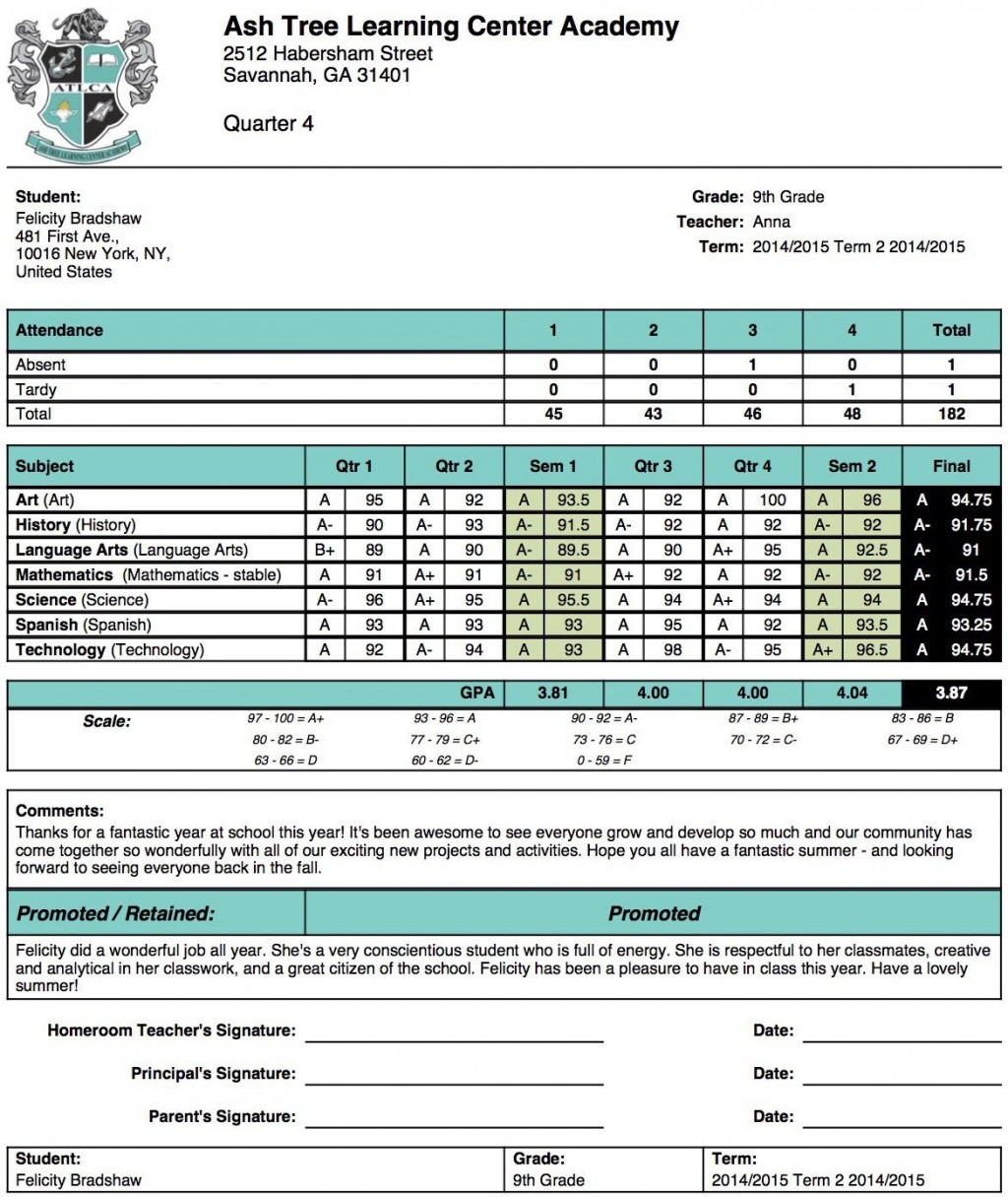 004 Unforgettable Middle School Report Card Template Pdf Sample Large