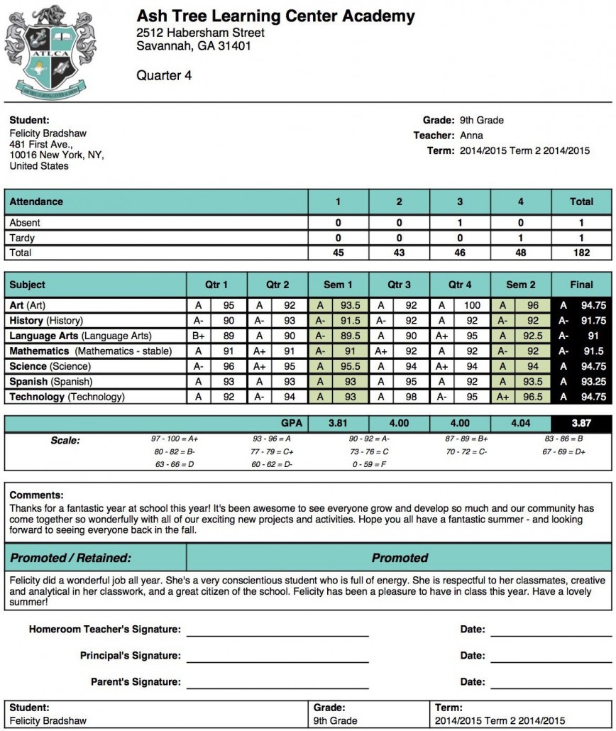 004 Unforgettable Middle School Report Card Template Pdf Sample 868