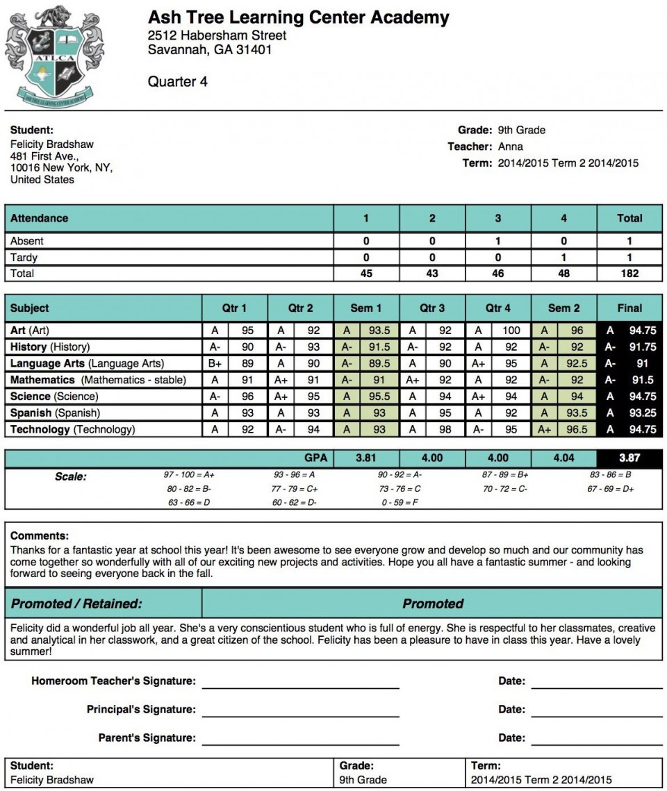 004 Unforgettable Middle School Report Card Template Pdf Sample 960