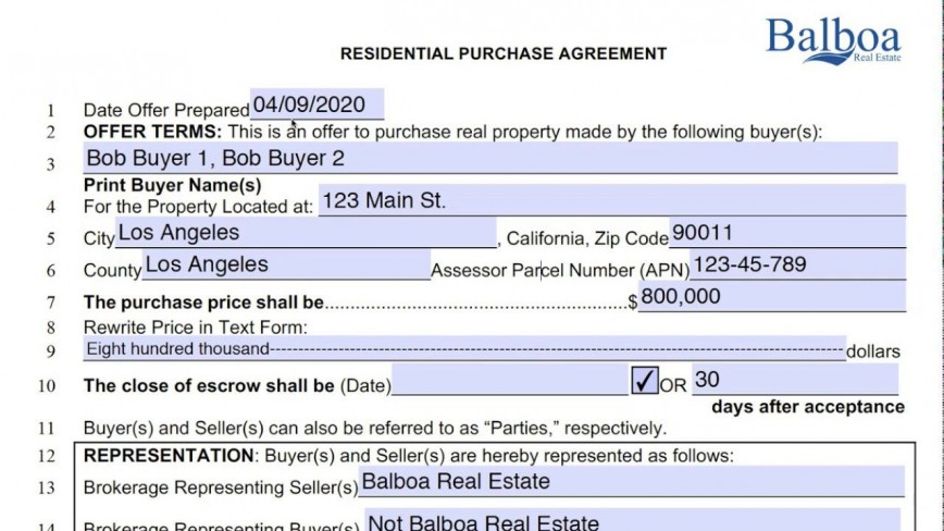 004 Unforgettable Real Estate Purchase Contract Form California High Resolution  Commercial And Sale Agreement Free