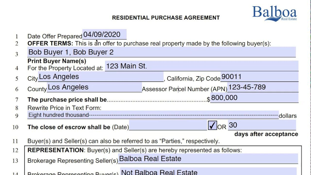 004 Unforgettable Real Estate Purchase Contract Form California High Resolution  Agreement Free SaleFull