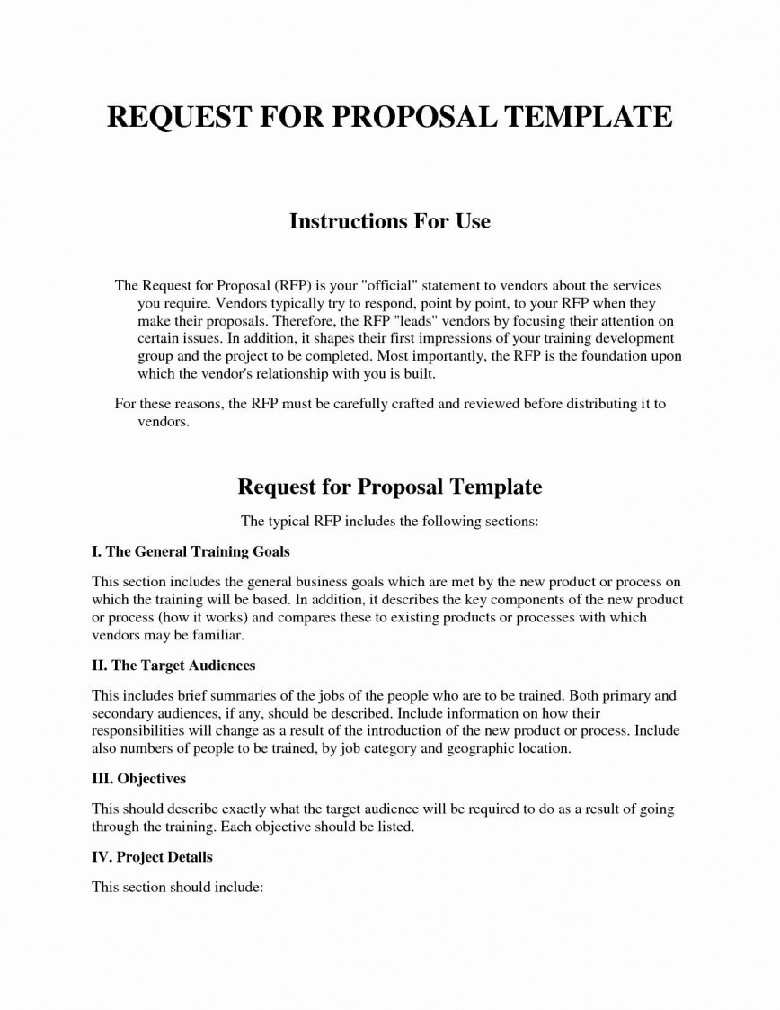 004 Unforgettable Request For Proposal Template Construction Concept  Commercial Residential Rfp