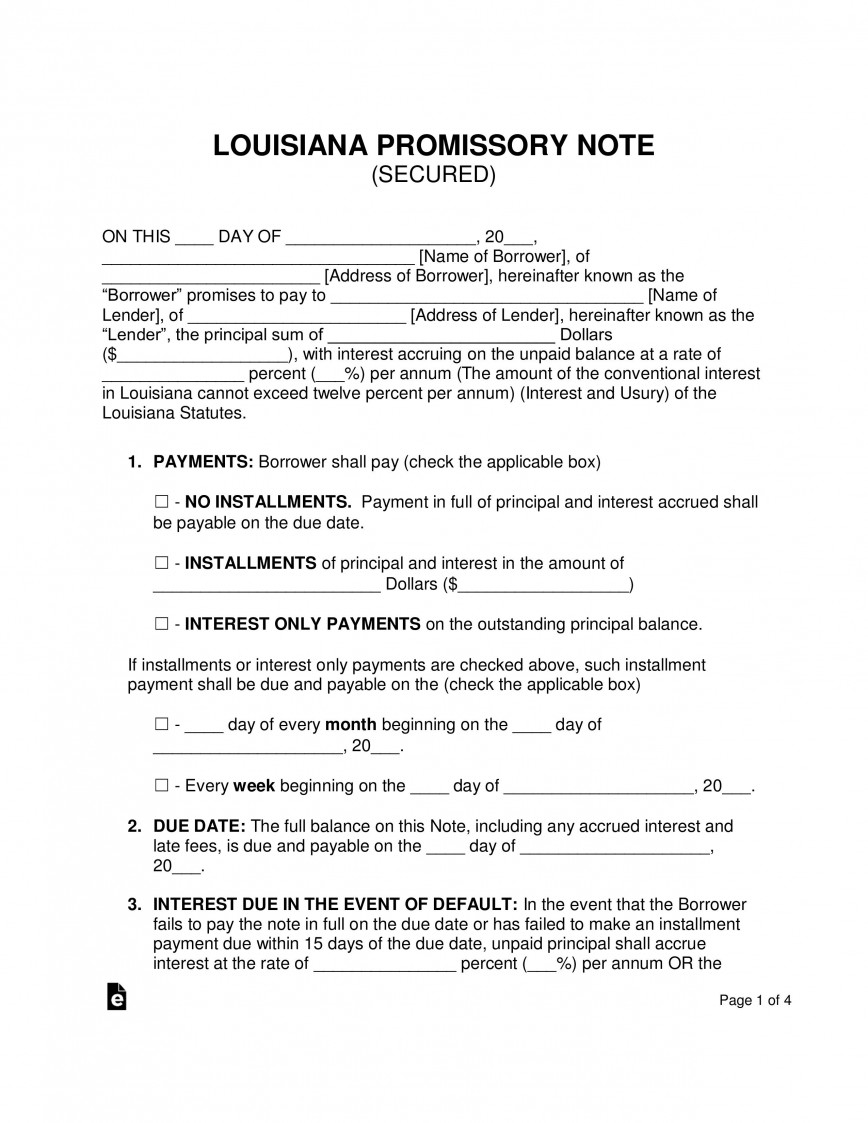 004 Unforgettable Secured Promissory Note Template Example  Georgia California Word868