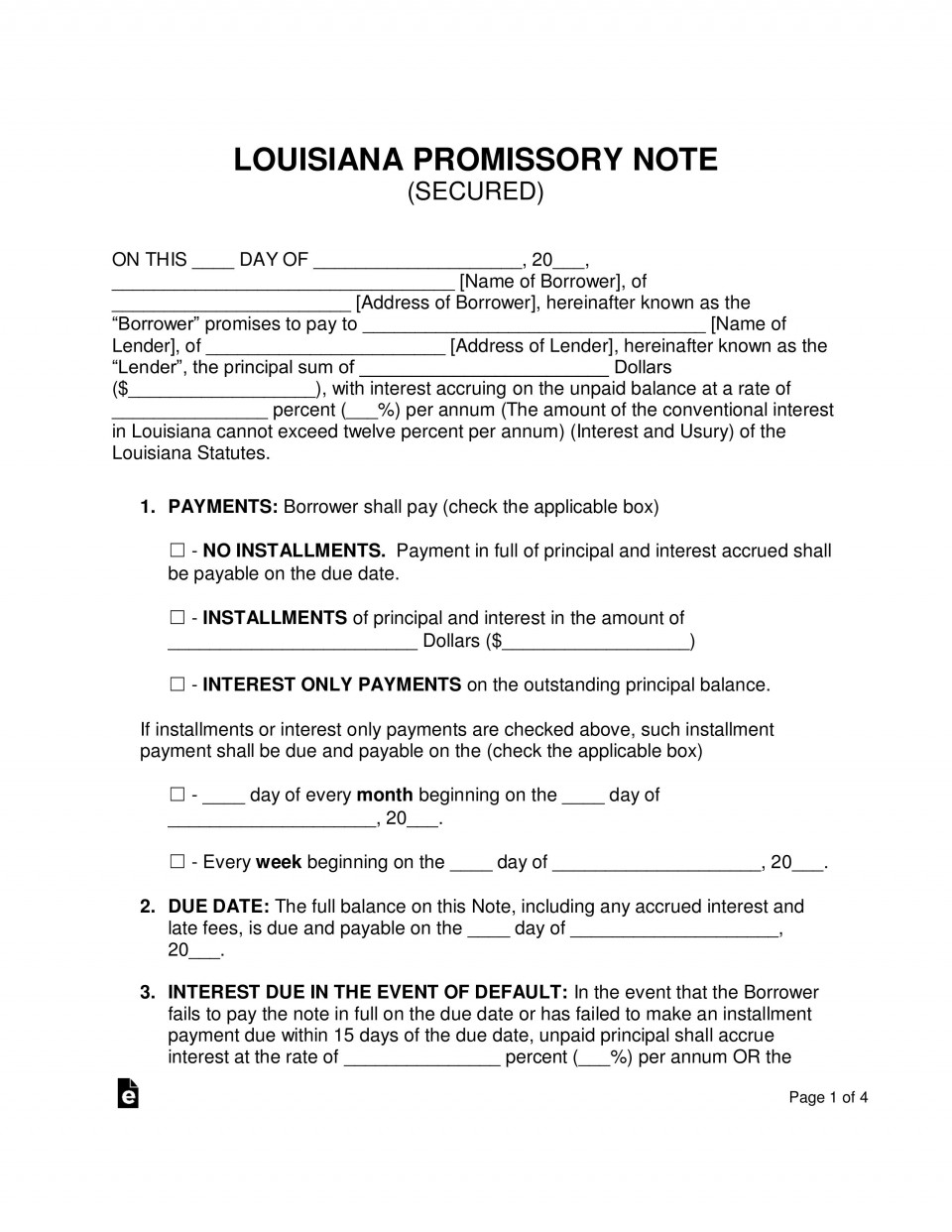 004 Unforgettable Secured Promissory Note Template Example  Free Word Georgia California960