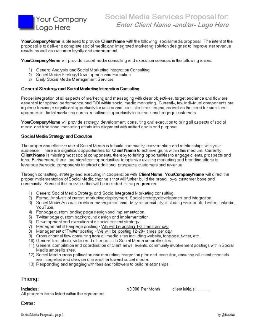 004 Unforgettable Social Media Marketing Proposal Template Inspiration  Plan Sample Pdf Excel