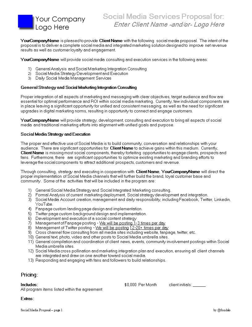 004 Unforgettable Social Media Marketing Proposal Template Inspiration  Plan Free Download Pdf WordFull
