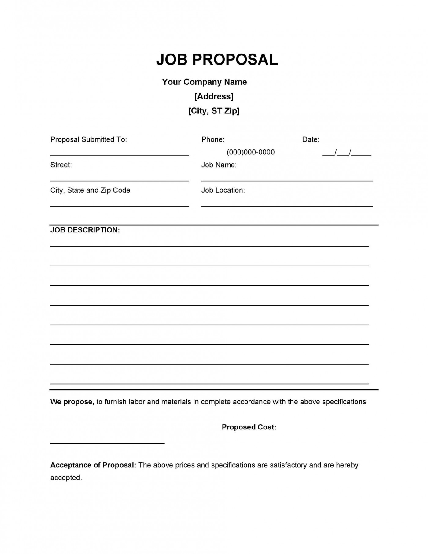 004 Unforgettable Writing A Job Proposal Template Sample High Resolution 1400