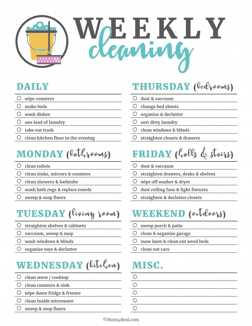 004 Unique Free Printable Weekly Cleaning Schedule Template High Def  Excel Customizable