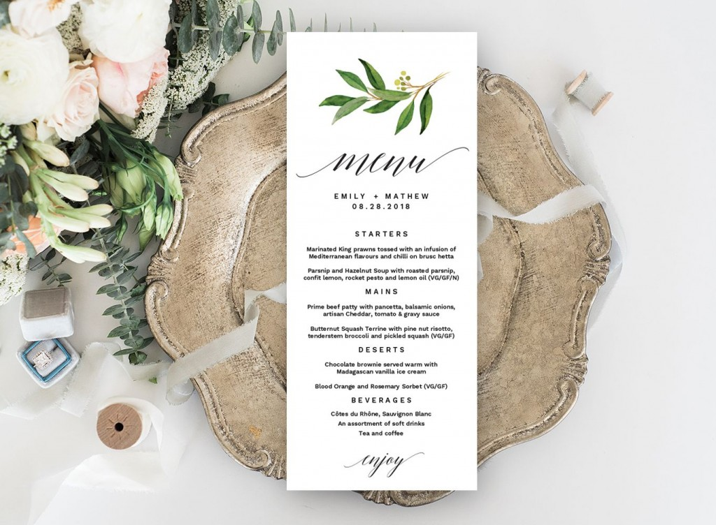004 Unique Free Wedding Menu Template Highest Clarity  Templates Printable For MacLarge