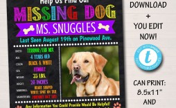 004 Unique Lost Dog Flyer Template Concept  Missing Pet Free Download