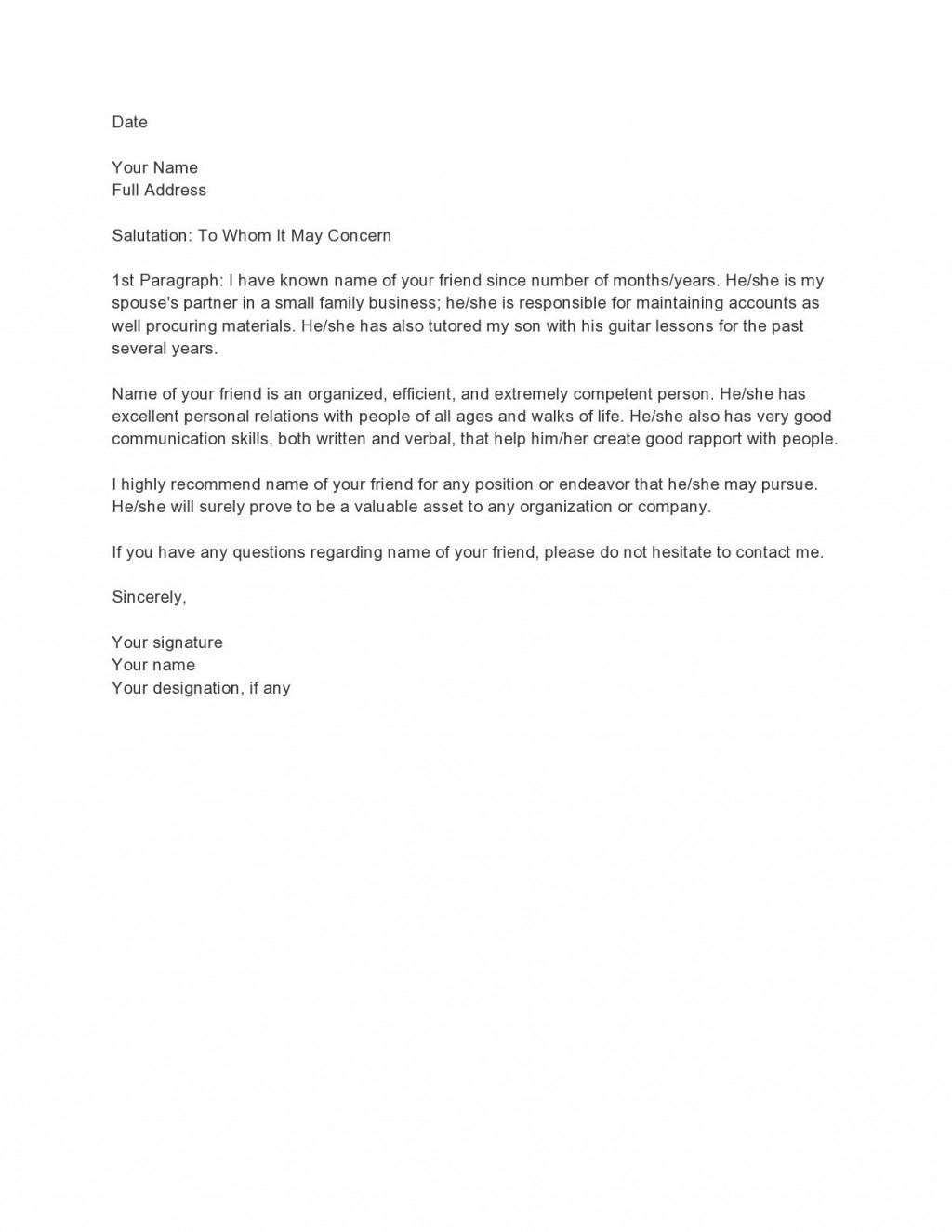 004 Unique Personal Reference Letter Of Recommendation Template Example  Sample CharacterLarge