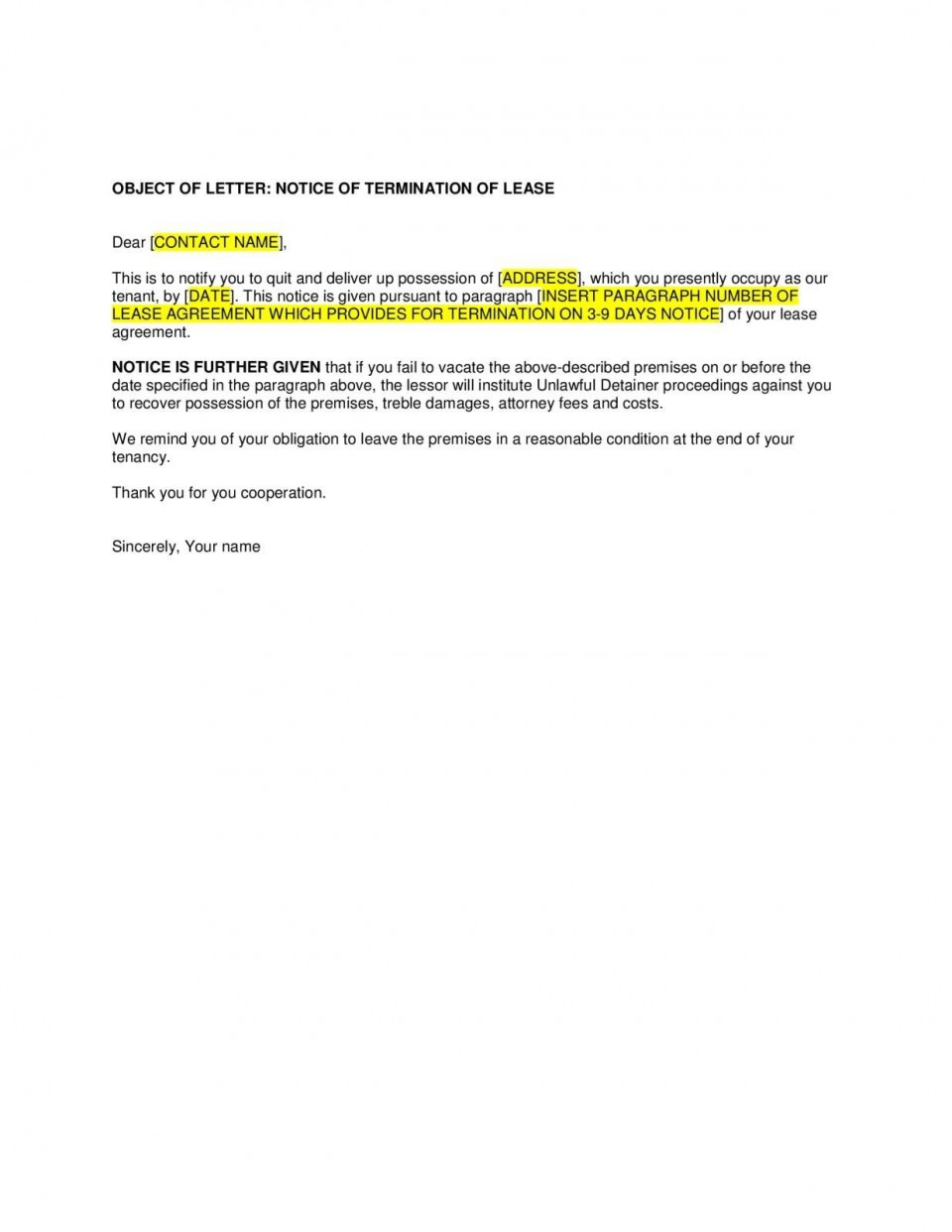 004 Unique Template For Terminating A Lease Agreement Inspiration  Rental Sample Letter960