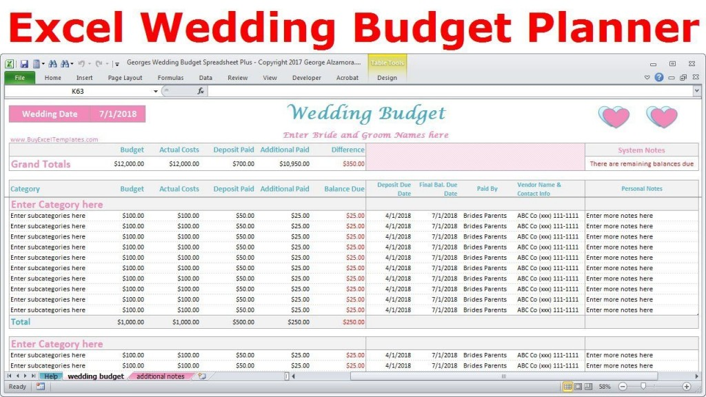 004 Unique Wedding Budget Template Excel Inspiration  South Africa Sample SpreadsheetLarge
