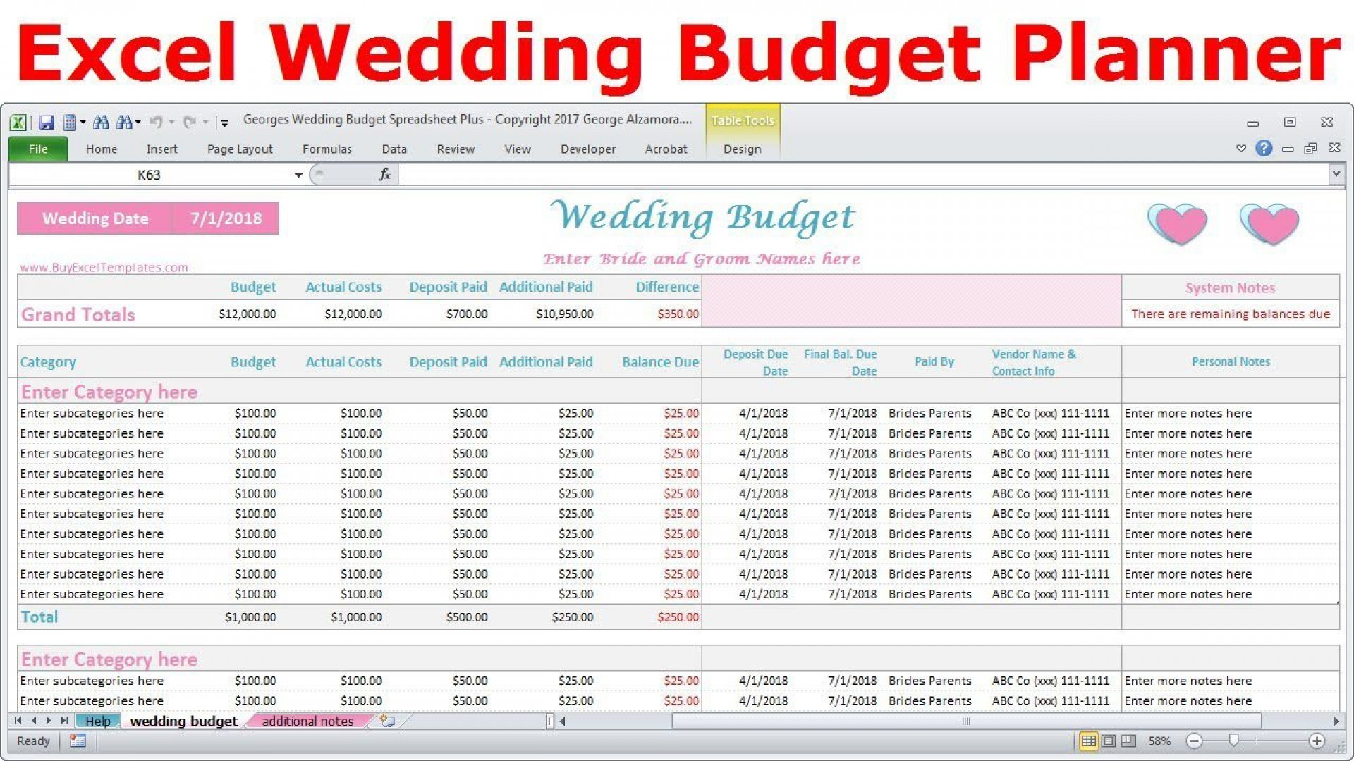 004 Unique Wedding Budget Template Excel Inspiration  South Africa Sample Spreadsheet1920