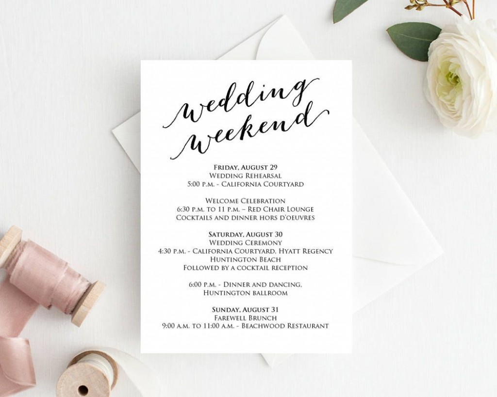 004 Unique Wedding Weekend Itinerary Template Example  Day Word Reception Timeline ExcelLarge