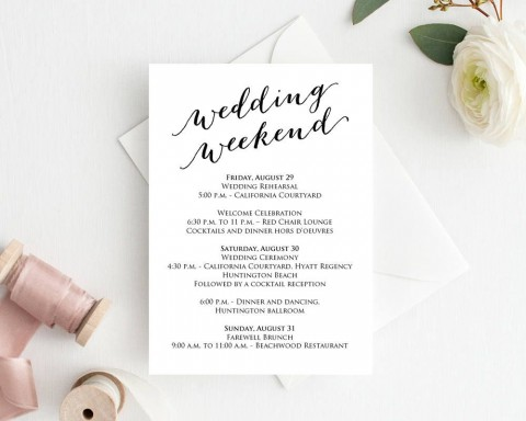 004 Unique Wedding Weekend Itinerary Template Example  Day Timeline Word Sample480