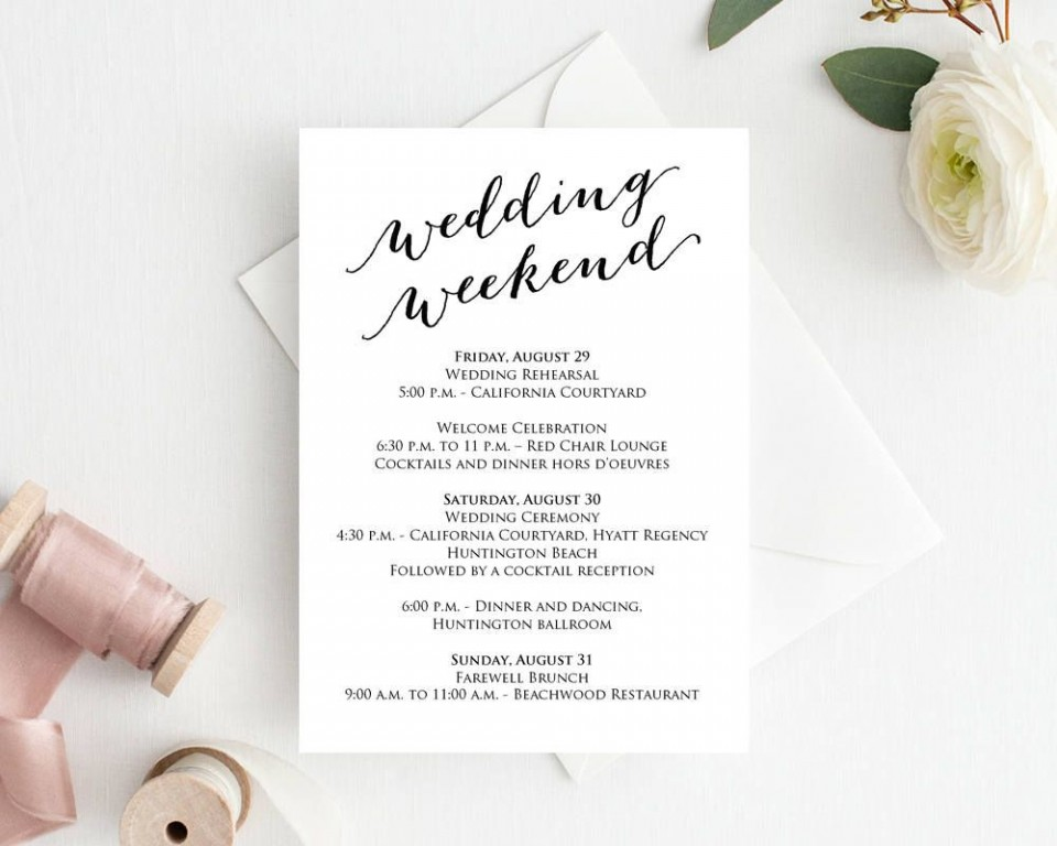 004 Unique Wedding Weekend Itinerary Template Example  Day Timeline Word Sample960