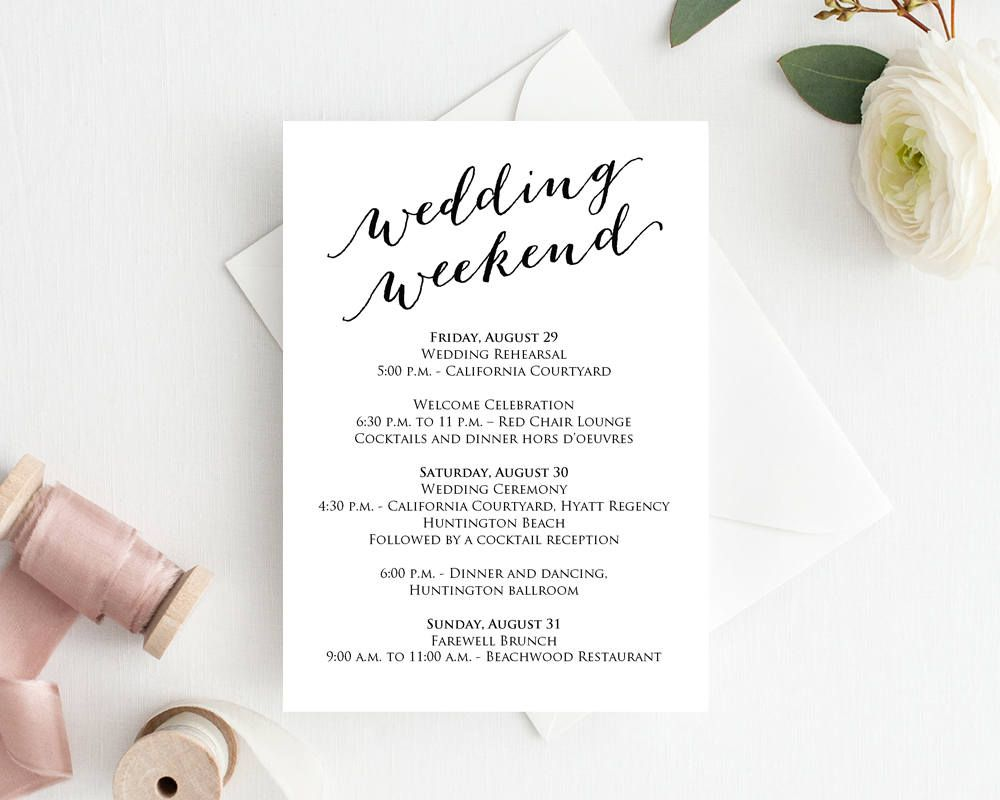 004 Unique Wedding Weekend Itinerary Template Example  Day Word Reception Timeline ExcelFull