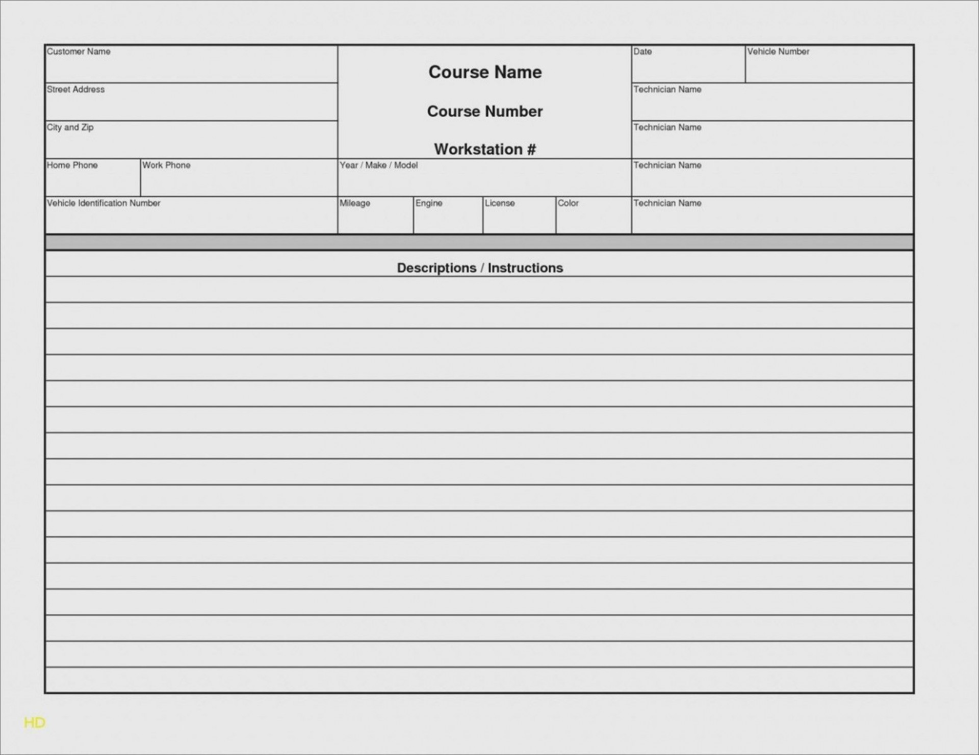 004 Unusual Automotive Repair Invoice Template Free Sample  Auto Excel Pdf1920