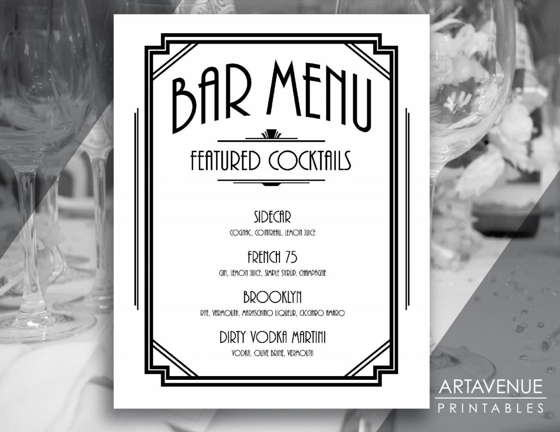 004 Unusual Bar Menu Template Free High Def  Download Snack1920