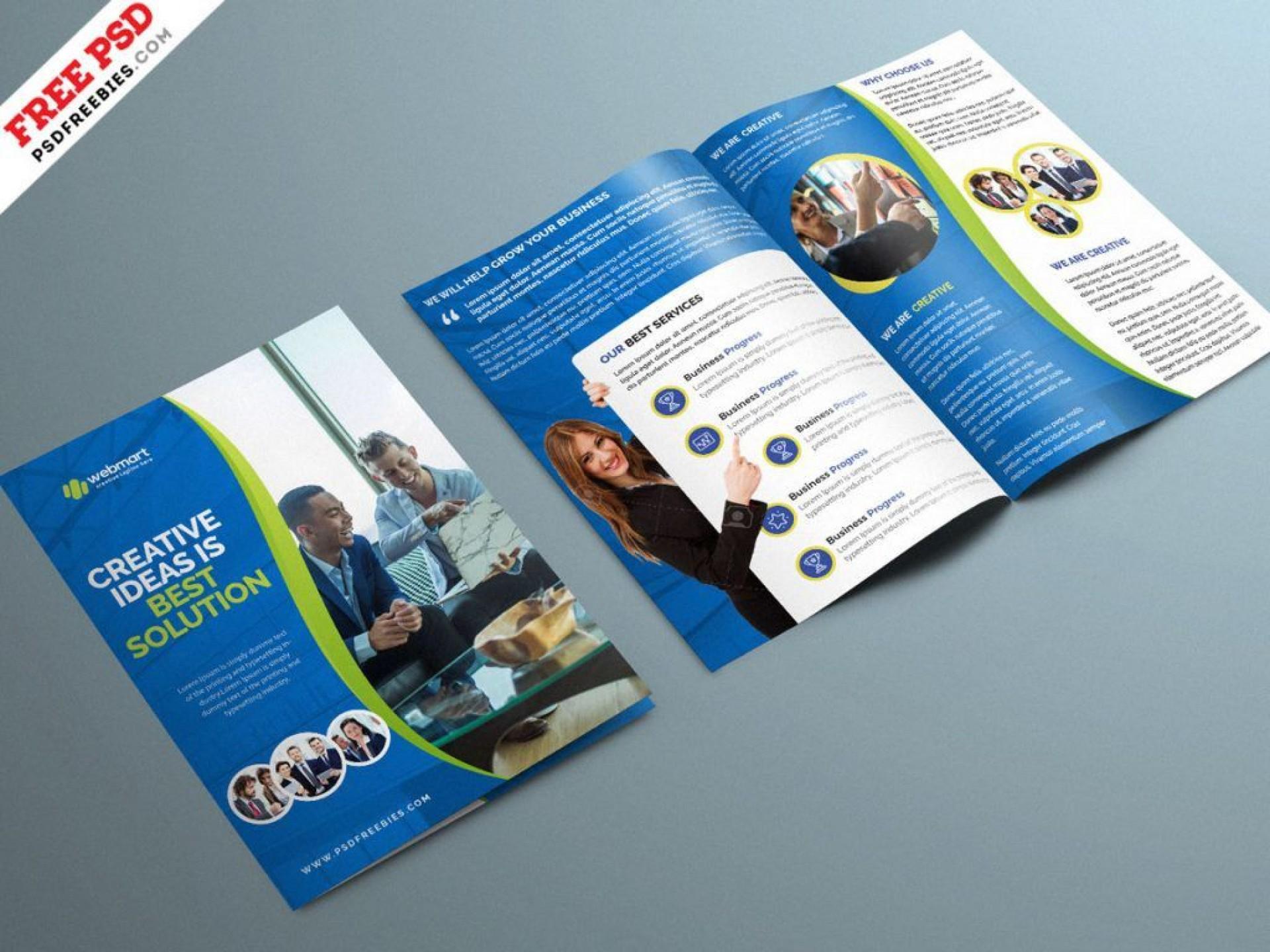 004 Unusual Corporate Brochure Design Template Psd Free Download Example  Tri Fold Hotel1920