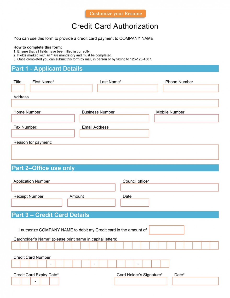 004 Unusual Credit Card Usage Request Form Template Example 960