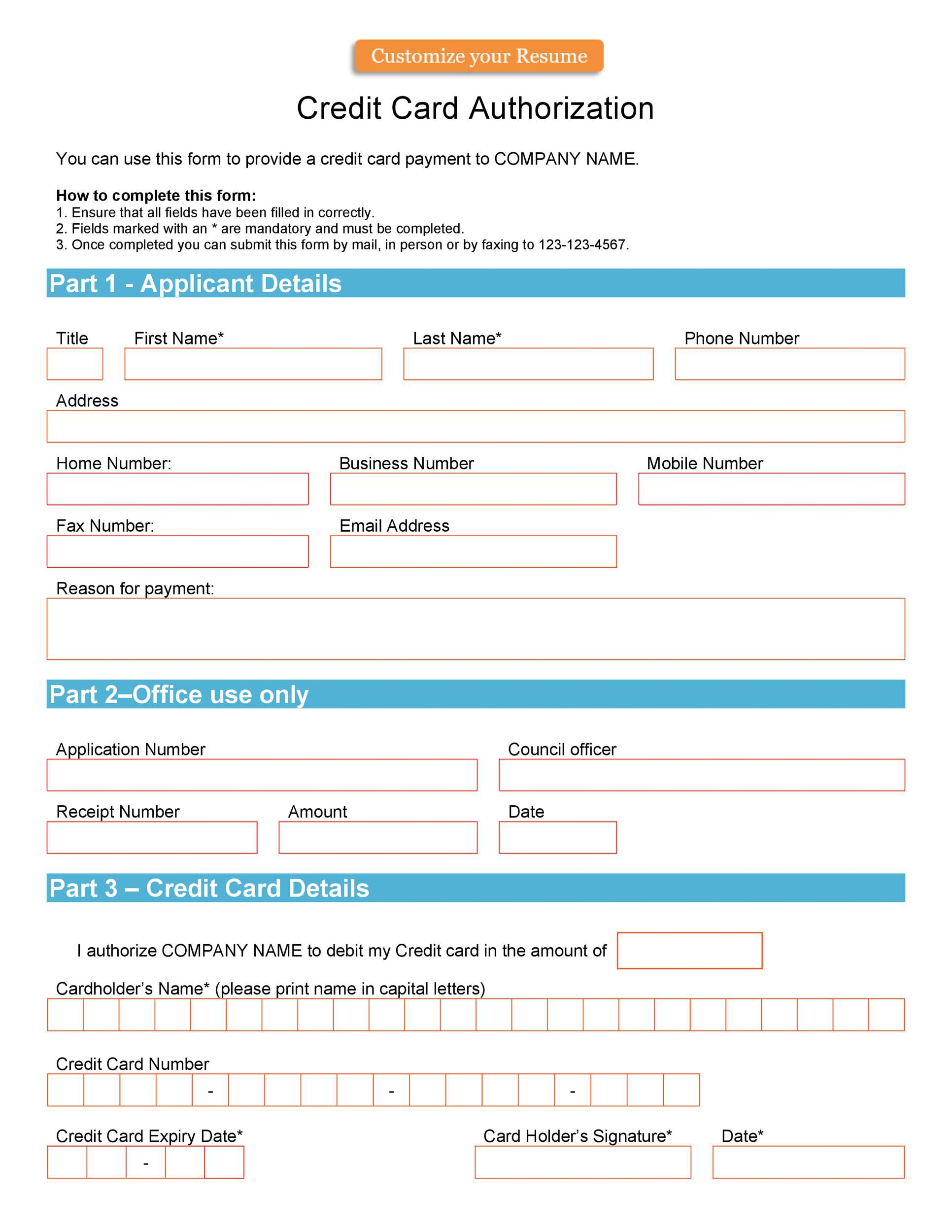 004 Unusual Credit Card Usage Request Form Template Example Full
