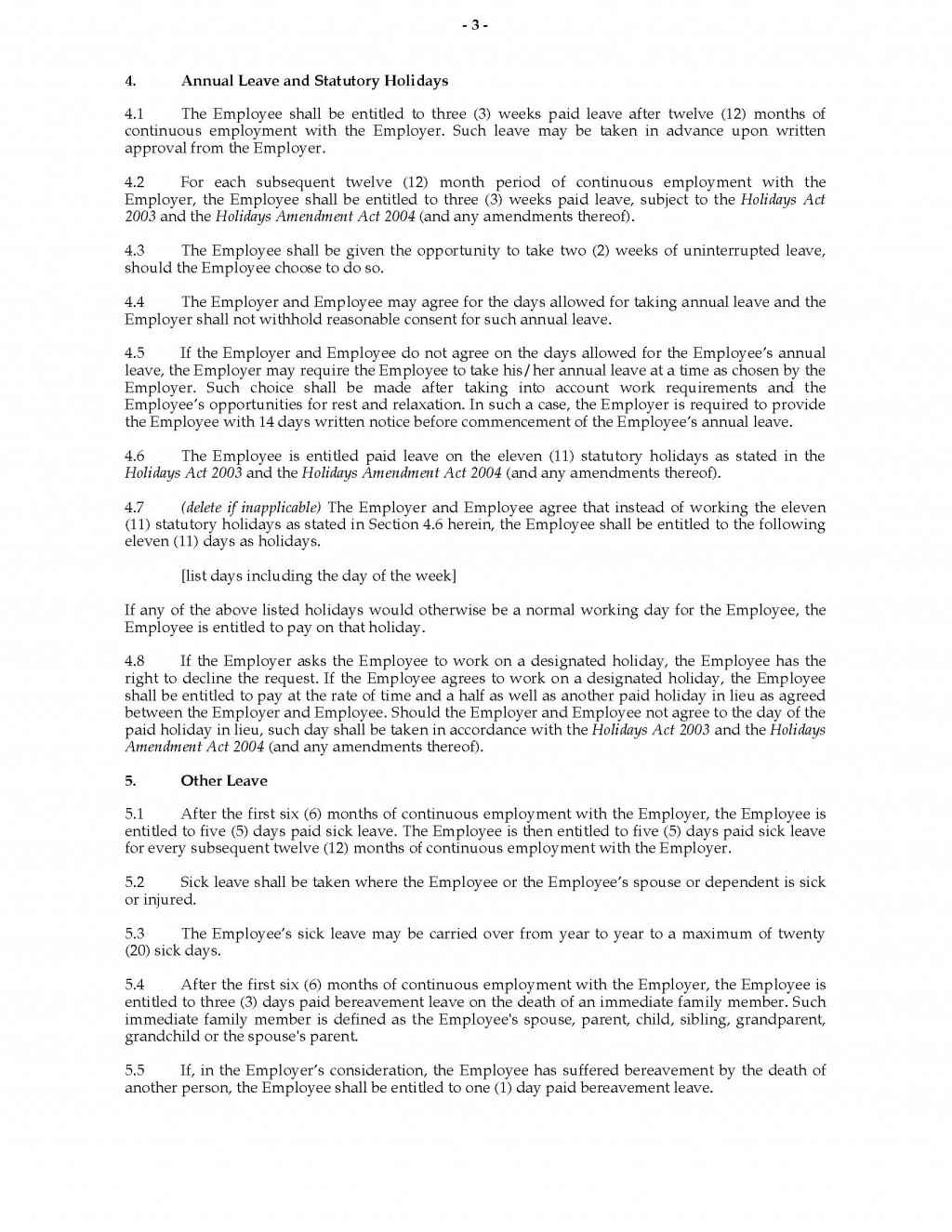 004 Unusual Free Employment Agreement Template Nz Example Large