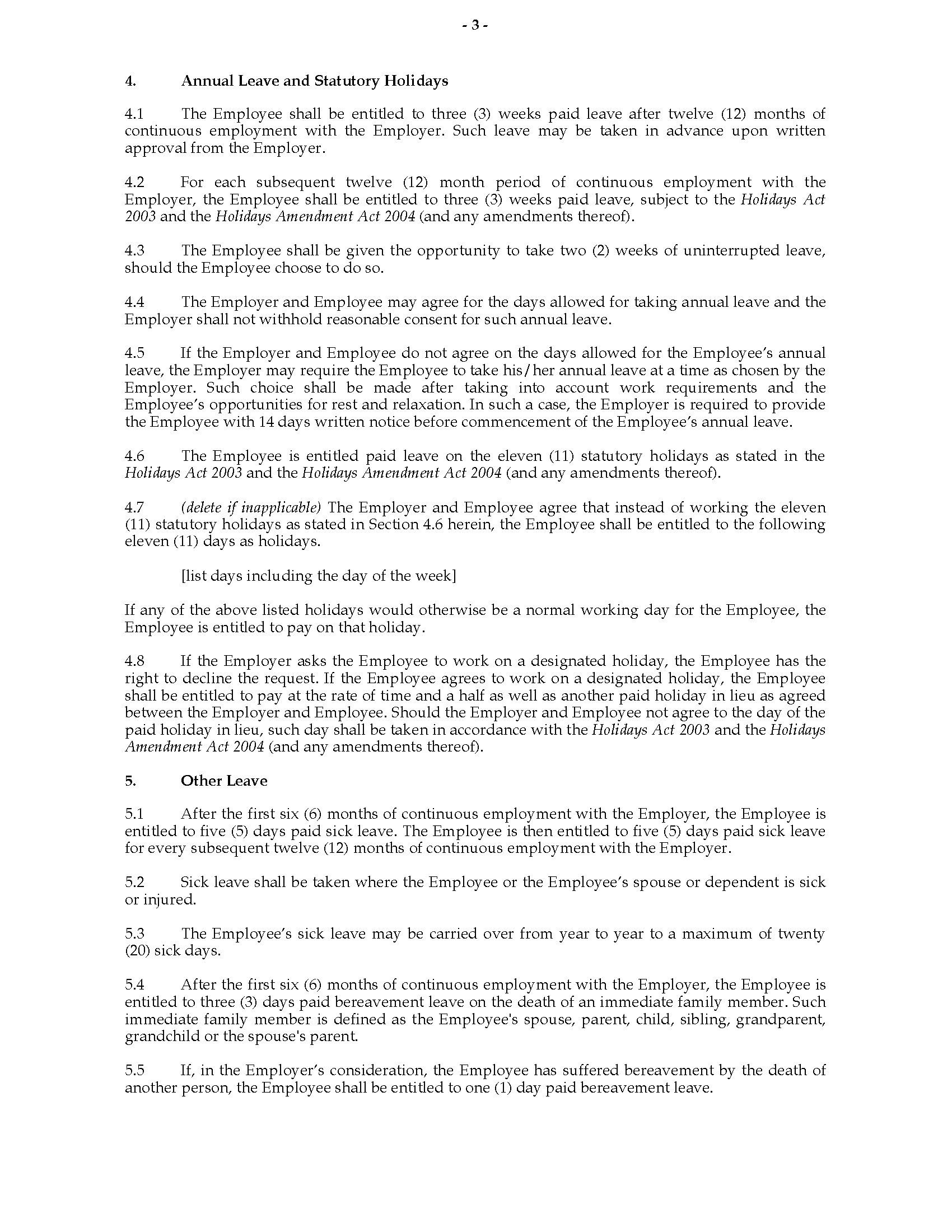 004 Unusual Free Employment Agreement Template Nz Example Full
