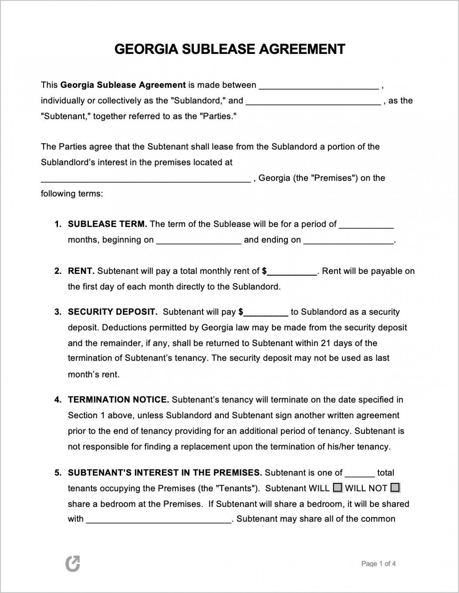 004 Unusual Free Sublease Agreement Template High Resolution  Lease Word South Africa1920