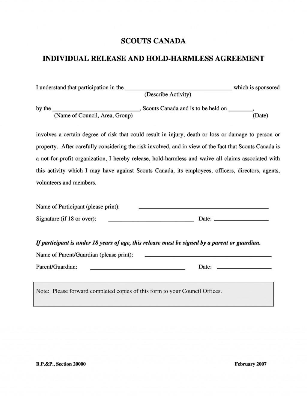 004 Unusual Hold Harmles Agreement Template Idea  Canada Word Free DownloadLarge