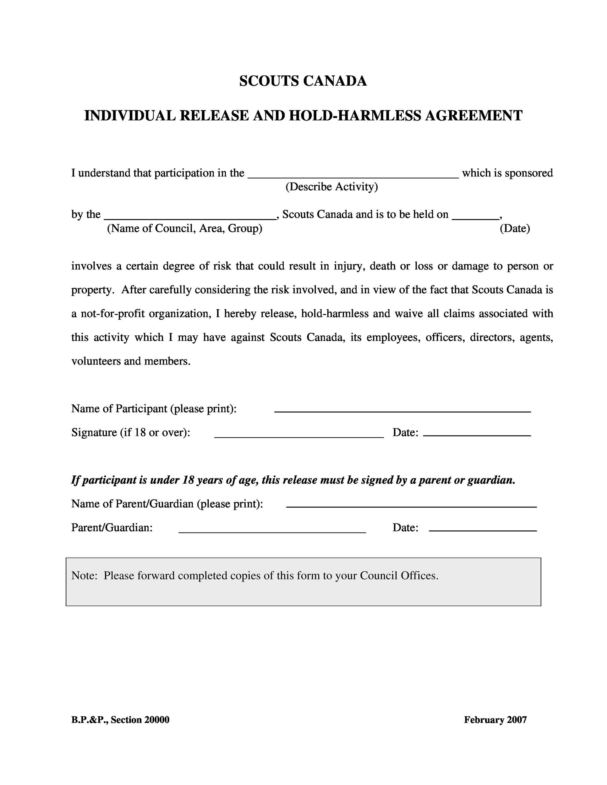 004 Unusual Hold Harmles Agreement Template Idea  Canada Word Free DownloadFull
