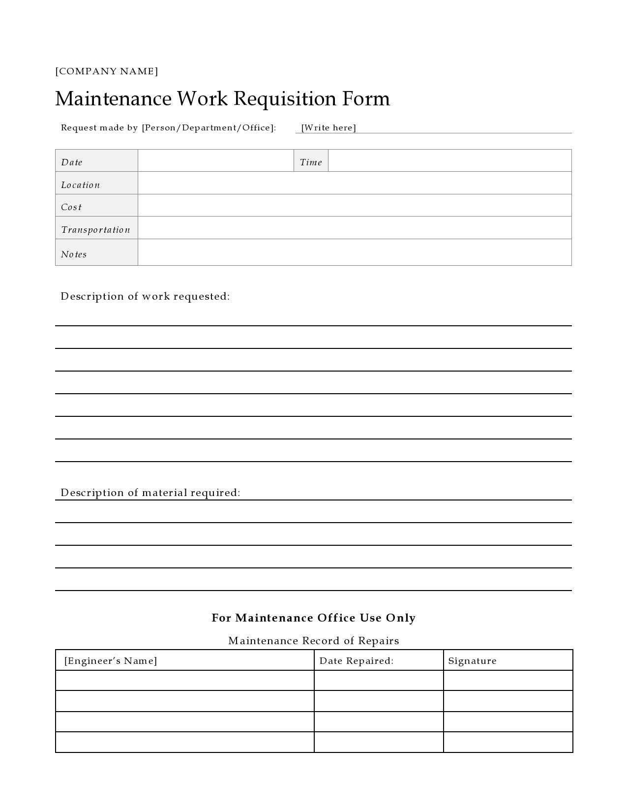 004 Unusual Maintenance Work Order Template Image  Form Free SampleFull